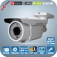 1080P P2P Manual zoom 2.8mm-12mm HD Megapixel IP Camera Onvif H.264 78 IR Night vision outdoor Waterproof CCTV security Camera