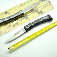 12pcs/lot Black Hunting Folding Pocket Mini knife Tactical Best Gift Hongkong post Free+ Retail Packaging