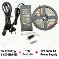 5m tira llevada controller DC12V power supply Tape kit no waterproof SMD3528 5630 5050 Flexible led strip light