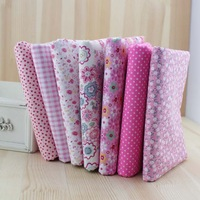 New Products! Fat Quarter Bundle 7 Pink floral dot stripe Mix Set 100% Cotton Fabric Fat Quarters Craft Bunting Patchwork Sewing