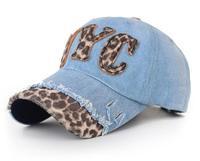 Wholesale 10pcs/lot 2015 Fashion Women Distressed Flexfit Baseball Hat Design Womens Summer Leopard Hats Mens Flexfit Caps Shop