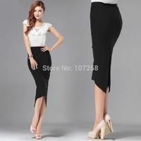 High Quality Cotton High Slim Waist Bodycon Pencil Mid Women Slit Skirts saias femininas Skirts female