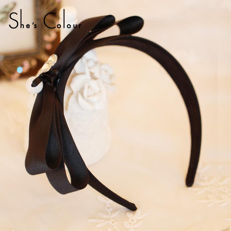 SUN FLOWER original Korean hair accessories brand light luxury minimalist black bow hair hoop headband wild(China (Mainland))