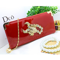 New Women Wallets Patent PU Leather Scorpion Lady Coin Purse Cards Holder Zipper Clutch Woman Wallet Burse Notecase Money Bags