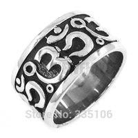 Free shipping! Om Symbol,Buddhism, Zen Art Ring Stainless Steel Jewelry India Om Yoga Motor Biker Ring Ring SWR0293
