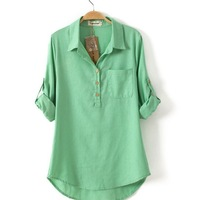 Women Blouses 2015 New Spring Long Sleeve Turn-Down Collar Solid Blusas Femininas Loose Casual Shirt High Quality Women Tops