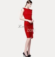 2015 New Women Summer Dress Wear To Work Office Business Elegant Pencil Dress Sleeveless bodycon Dresses Knee-length b9 CB036671