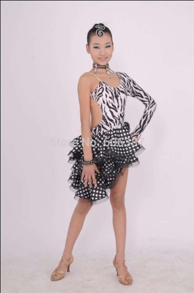 1pcs/girl latin dress samba competion costum dance dress +shorts one shoulder zebra pattern(China (Mainland))