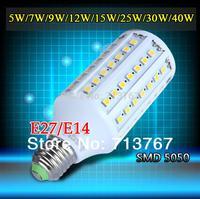 Factory directly sale 5pcs/lot led corn bulb lamps SMD 5050 E27 E14 5w 7w 9w 12w 15w 25w 30w 40w 220V-240V  free shipping