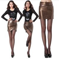 2015 Spring Autumn Europe and America Leopard Print PU Zipper Pack Hip Sexy Fashion Women Skirts Mini Skirt  saias femininas