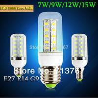 Factory directly sale 1pcs/lot led corn bulb lamps SMD 5050 E27 E14 G9 7w 9w 12w 15w 220V-240V 360 degree free shipping