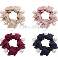 2015 New Hot Koren High Quality Bows+Pearl Women Hair Ties Elatic Hair Bands Ladies Hair Holder Free Shipping