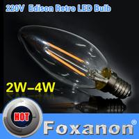 Foxanon Brand E14 LED Lamp Dimmable Filament Glass Housing Corn Blub 220V 2W 4W Light Retro Tungsten Candle Chandelier Lighting