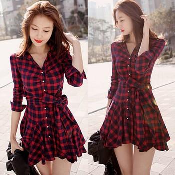 Women Retro Long Sleeve Dress Red Plaid Lapel Shirt Mini Belted Casual Dresses 2015 Free Shipping