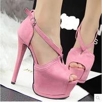 Fashion Flock Cross Strap Sexy Women High Heels 6 Colors 15 cm Platforms Peep Toe Club Pumps Vintage Europe Style Sandals Shoes