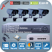 4pcs 1080P 2MP POE 802.3af IP POE Camera P2P 8 Channel NVR 4CH POE Switch IR Night Vision Home Security camera System
