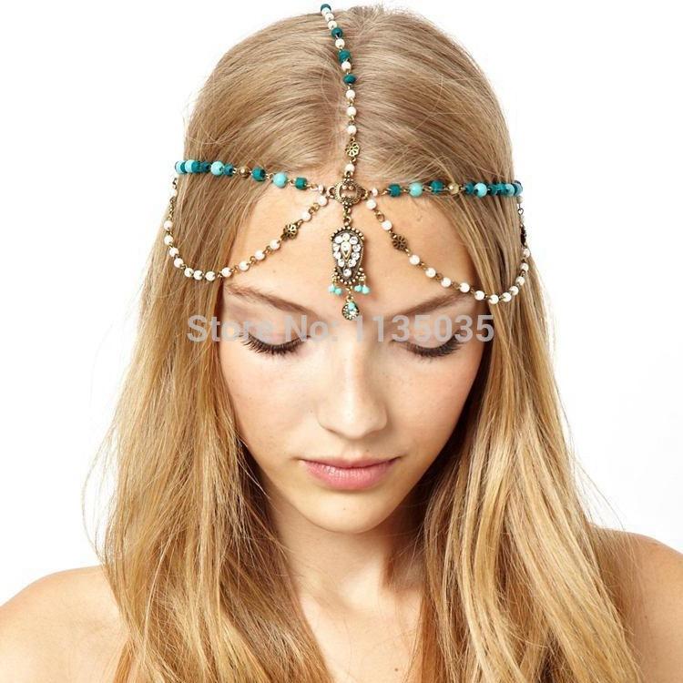 2015 Brand new Headband Pearl blue stone headbands for women pearl tassel vintage hair accessories fashion Girl Hairbands RETAIL(China (Mainland))