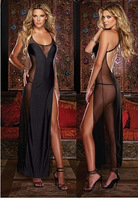 sexy pajamas European and American Baby Dolls black halter dress sexy transparent  Lingerie Set