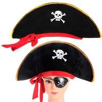 Halloween cosplay Caribbean pirate hat piratered ribbon velvet pirate hat