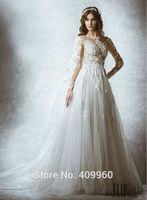 2015 Zuhair Murad Sexy O Neck With Applique Long Sleeves A line Floor Length Tulle Wedding Dresses Vestido De Noiva Sereia