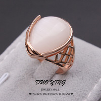2015 New Fashion Rings Hollow 18k Rose Gold Filled Water Drop Beige Opal Anniversary Rings For Women Anillos Aneis