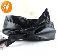 fashionable   soft leather bow women's  belt girdle  women elastic wide cummerbunds