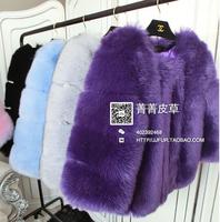 9 Color Free Shipping 2015 New Faux Fur Outerwear Fox Fur Coat Full Leather Fox Fur Coat Elegant Winter Jacket Top Women