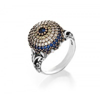 925 Sterling Sliver Turkish Unique Evil Eye Ring Lucky Eye Nazar Fashion Jewelry Women with blue sapphire and clear cz stones