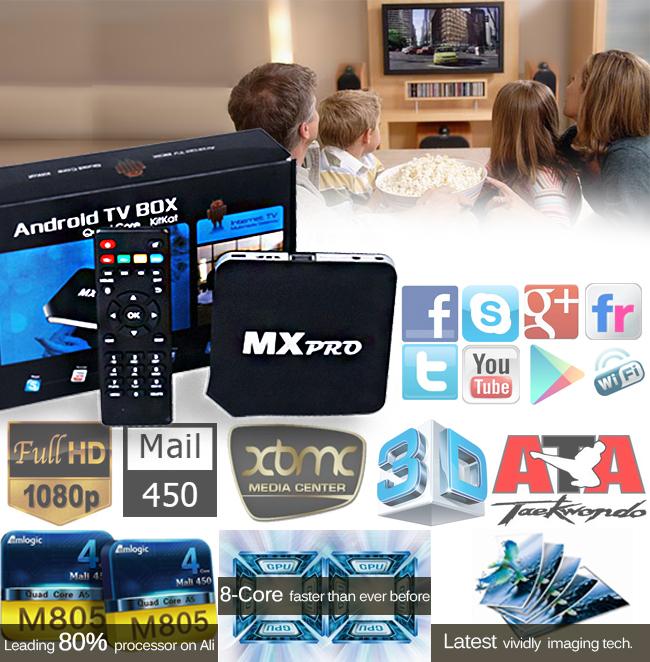 Reino unido Stock | 450 carneiro 2 GB / 8 GB 1080 P HD XBMC Fully Loaded MX PRO Android 4.4.2 Quad Core TV BOX para Smart TV caixa de iptv arábica(China (Mainland))
