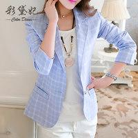 Diana 2015 spring and autumn plaid one button blazer outerwear female slim classic fashion long-sleeve 15020502