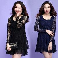 XL-4XL Plus Size Women Long sleeve Lace Dress 2015 Spring New Big Size Casual Dress Fat Women Clothing Black Blue XXXL Vestidos