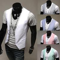 2015 Men Casual Vest Male Business Vest Men Fashion Waistcoat Undershirt Slim Fit Mens Vest M-XXL PM11