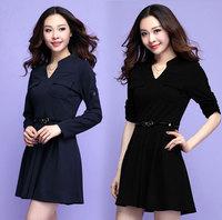 XL-4XL Plus size Dress Brand 2015 Spring Pocket Slim Long Sleeve Formal Dresses Women Big Size Clothing Blue Black XXXXL