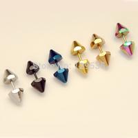 8mm Diameter Spike Rivet Hexagon titanium steel Punk Men Screw Back (pierced) stud earrings 6 colors