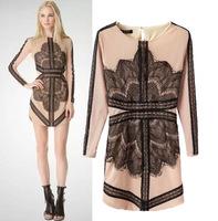 F1213  fashion eyelash lace stitching round neck long-sleeved dress women Slim bottoming dress