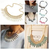 2015 New Fashion Gold Chain Choker Vintage Rhinestone Bib Statement Necklaces & Pendants Women Jewelry Gift Flowers Necklaces