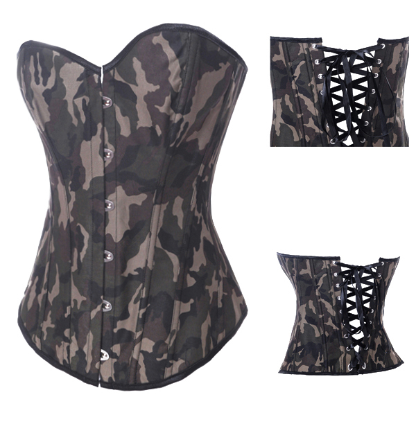 Camouflage Overbust Corset ( 6XL 5XL 4XL 3XL XXL XL L M S ),Women Plus size denim Army Green Bustier , Corselet ,Shaper(China (Mainland))