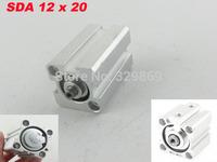 Pneumatic Silver Tone Alloy Compact Air Cylinder SDA 12 x 20