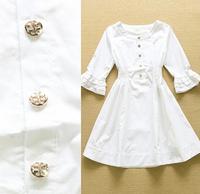 2015 Runway High Quality Designer High Quality Dress Women's Cute Flare Sleeve Elastic Waist White Cotton Dress