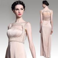 New 2015 Aliexpress Hot Sale Noble Champagne Color Long Evening Dress Women Bodycon Prom Dresses Vestido Longo Plus Size S-XXL