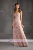 New Elegant Sweetheart Pink Chiffon Long Party Dresses Vestidos Para Festa Custom Made Cheap New Bridesmaid Gowns 2015 Fashion