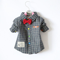 2015 Wholesale children's baby grid Long sleeve shirt boy's Color button red bowtie fashion shirt