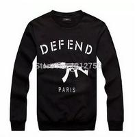 2015 Spring Autumn Men Letters DEFEND PARIS AK47 Automatic Rifles Print Hip Hop Hoodies Male Street Pullover Sweatshirt
