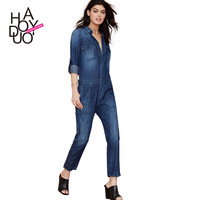 2015 spring summer cool casual roll sleeve turn-down collar denim jumpsuit long-sleeve women jean jumpsuit haoduoyi