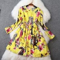 2015 NEW IN Spring Designer Dress Women's Vintage Long Sleeve Yellow / Green Animal Owl Squirrel Flower Printed Mini Dress