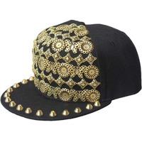 Rivet punk small butterfly sewing hip-hop hiphop dance hat flat eaves baseball cap Flat hat