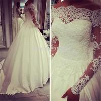 Top Sale Ball Gown Vintage Ivory Long Sleeve Wedding Dress Lace Off Shoulder Sparkle Beading Vestidos De Novias New 2015