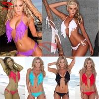 Wholesale 2015 Fashion Designer Beads Top Ringed Bottom Fringe Female Bikini 6 colors