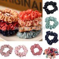 Wholesale Lots 10Pcs Womens Multicolor Polka Dot Print Elastic Hair Band Rope Scrunchie Ponytail Holder
