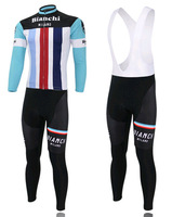 Can mix size+Summer/Autumn+Free shipping+2014 COLOR BIANCHI Bib long sleeve cycling jersey pants bicycle ridding wear clothes